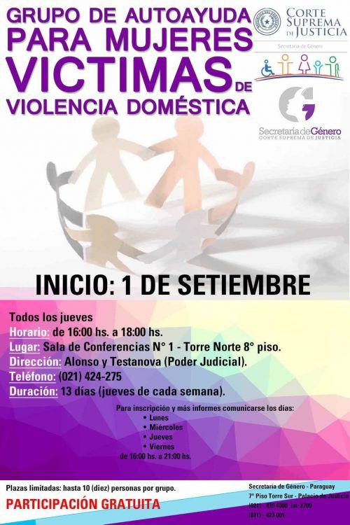Reunión de grupo de autoayuda para víctimas de violencia